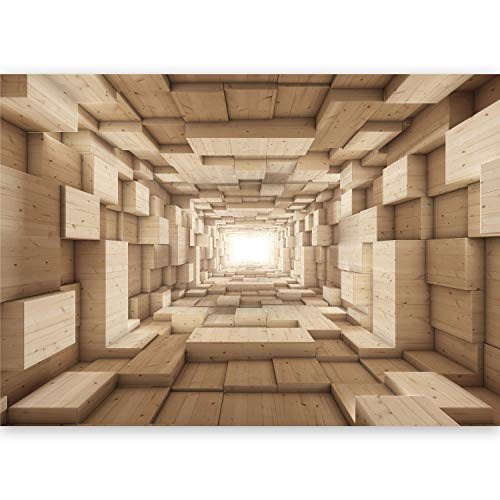 murando - Fototapete XXL 3D Effekt 500x280 cm Vlies Tapeten Wandtapete XXL Moderne Wanddeko Design Wand Dekoration Wohnzimmer Schlafzimmer Büro Flur Abstrakt Tunnel Holzoptik geometrisch a-B-0035-a-b