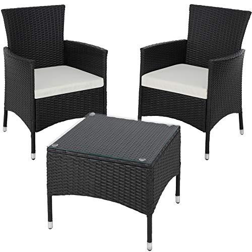 TecTake 800566 Poly Rattan Gartenset | 2 Stühle und Kleiner Tisch mit Glasplatte | Robustes Gestell aus Stahl - Diverse Farben - (Schwarz | Nr. 402862)