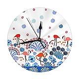 NOBRAND Reloj de Pared Redondo Plantas y Flores exóticas de 25 cm, silencioso y con números árabes Vintage