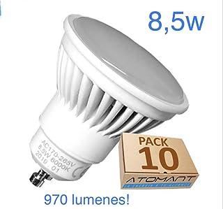 Pack 10x GU10 LED 8,5w Potentisima. Color Blanco Frio (6500K). 970 lumenes. Única con ángulo 120 grados. A++