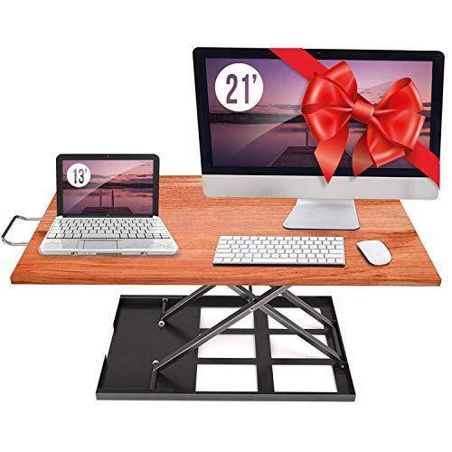 Standing Desk Converter Adjustable Height - Sit to Stand Up Desktop Table Riser - Elevating Computer Laptop Notebook Workstation Rising Portable Tabletop - Best Office Exercise Work Station