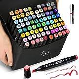 🌸【豊かな80+2セット】弊社のマーカーペンは初心者でも使いやすい、2種類のペン先を持ってるのマーカーペンです。ライティング、ドローイング、コミック用、マンガ、メモ、塗り絵、落書き、スケッチ、デザインなどの様々なニーズを満たすことができます。作品にすばらしい色彩を組み合わせ、圧倒的なカラーバリエーションを誇ります。ホワイトペンとライナーペンも付属しておりますので、もっと気軽にカラフルな作品を完成できます! 🌸【2種類のペン先&鮮やかな色】マーカーペン 油性の両用ペン先を持っていますので、太字のペ...