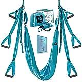 Aerial Yoga Swing Set - Yoga Hammock Trapeze Swing - Trapeze Yoga Kit - Flying Yoga Inversion Tool - Antigravity Ceiling Hanging Yoga Sling - Adult Kids Arial Door Yoga Swing (Sea Wave)