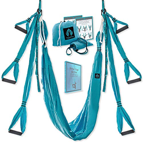 Yoga4You Aerial Yoga Swing Set - Yoga Hammock Swing - Trapeze Yoga Kit - 2 Extension Straps - Wide Flying Yoga Inversion Tool - Antigravity Ceiling Hanging Yoga Sling - Adult Kids Arial (Sea Wave)