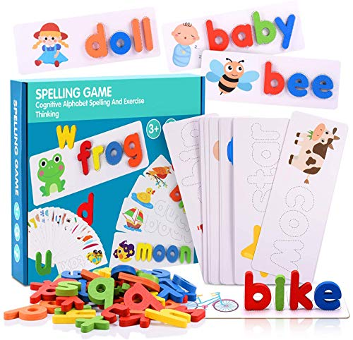 ALLDIO See and Spell Learning Toys, Sight Word Game Matching Letter Games Preschool Flashcards Wooden Alphabet Block Montessori Toy for Toddlers
