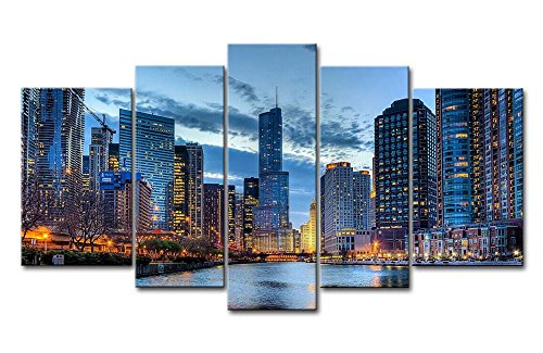 5 Panel Wall Art Painting Chicago I…