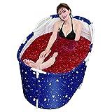 Bañera Independiente Plegable Bañera De Inmersión Cubo Plegable Con Drenaje Para Adultos Niños Cubo De Baño No Inflable Hogar Camping Viajes,Blue