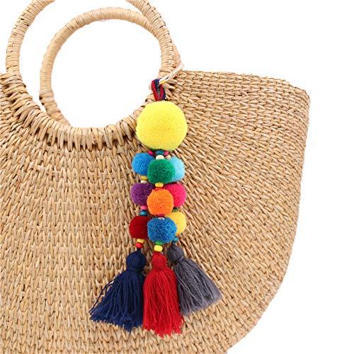 YUESHAO Llavero Borla Charms Bag Handmade DIY Pompom Keychain Tassel Trinket Pompon Key Chain Auto Key Accessories Llaveros de Coche para Mujer