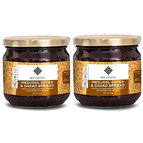 Pasta de dátiles Med Cuisine con cacao (440GR X 2) - un rico edulcorante natural hecho de dátiles deshuesados y prensados: vegano, vegetal, sin conservantes, kosher