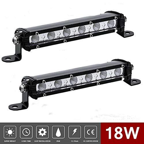 LED Light Bar 7inch 18W Spot & Flood Combo Single Row 1800LM Off Road LED Fog & Driving Light Roof Bumper Light Bars