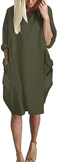 Womens Long Sleeve Casual Loose Pocket T Shirt Dress Oversize Tunic Dress Midi Dresses Tops