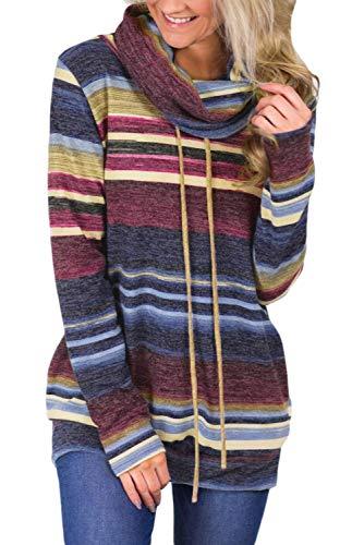 BLENCOT Blusa Donna Maglione Elegante Collo Alto Cappotto Invernale Manica Lunga Felpe Autunno con Cravatta Frontale Maglia con Tasca, Blu, M