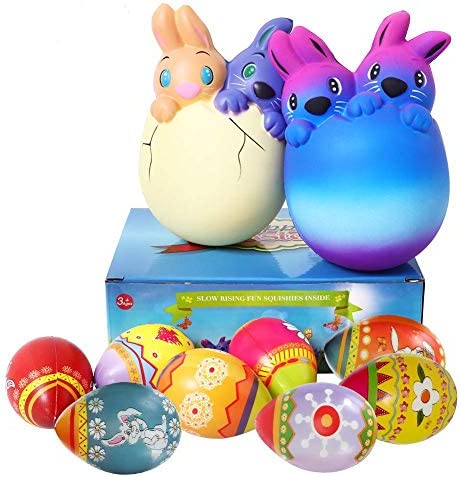 8 Pack Easter Squishies Toys Slow Rising Jumbo Easter Rabbit and Easter Egg Squishy Perfect product image