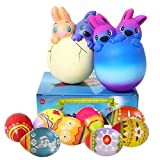 8 Pack Easter Squishies Toys, Slow Rising Jumbo Easter Rabbit and Easter Egg Squishy Perfect for Easter Theme Party Favor, Easter Eggs Hunt, Basket Stuffer Fillers for Boys & Girls(2 Rabbits+6 Eggs).