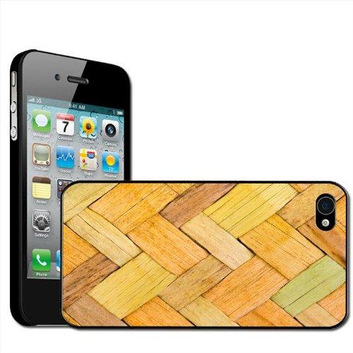 Fancy A Snuggle 'bamboe gevlochten mand achtergrond' beschermhoes voor Apple iPhone 4 / 4S, harde schaal, opsteekbaar
