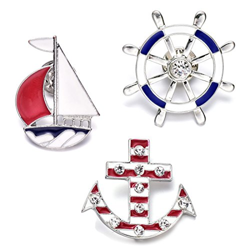 Onnea Sailboat Anchor Wheel Cartoon Enamel Brooch Pin Set for Bags Girls