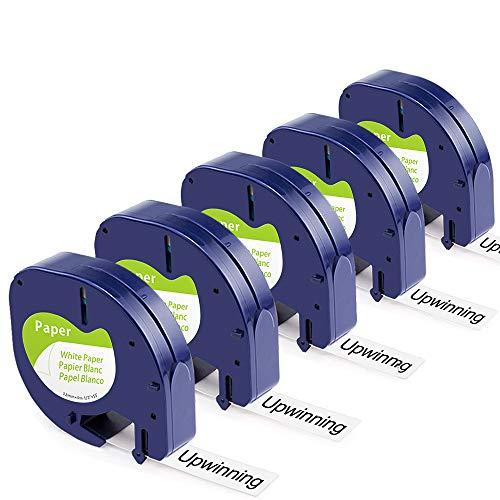 Upwinning kompatibel Schriftbänder als Ersatz für Dymo Letratag 91220 Papier Schriftband schwarz auf weiß 12mm x 4m bänder, Letra S0721520 Etikettenband für LT100H LT100T LT110T QX 50 XR XM, 5er-Pack