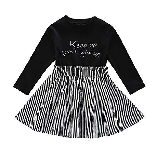 Shan-S Toddler Baby Girl Long Sleeve Letter Printed Stripes Dress Princess Tulle Tutu Skirt Dress Black