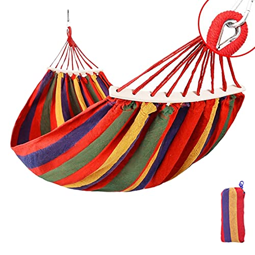 Upcaremall Hamaca de lona portátil para exteriores, para viajes, picnic, columpio de madera, para camping, cama, muebles de jardín con mochila para patio, jardín
