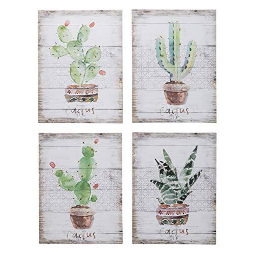 MONTEMAGGI Quadro Cactus Fondo A Righe 4 Dis.Ass....