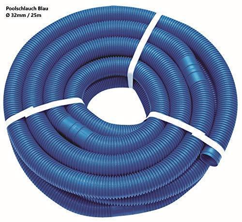 well2wellness® Poolschlauch 32mm - Blauer Schwimmbadschlauch - 25 Meter