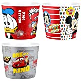 Modern Style Reusable Plastic Popcorn Containers/Popcorn Bowls Set for Movie Theater Night - Washable in the Dishwasher - (BPA Free-3 Pack- Each One 75 oz) (MIX 1) (Red MC+Donald DC+Grey MQ))