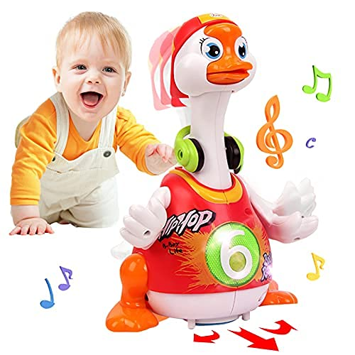 Baby Toys 12-18 Months Early Education Funny Dancing Hip-Hop Swing Goose ,Music Walking Flashing Lights Gifts Toys for 1 2 3 Years Old Boys Girls Toddlers (Random Color)