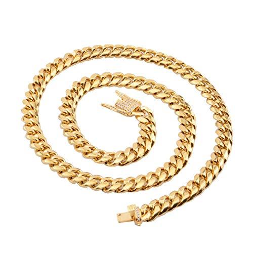 Beydodo Collar Cadena Acero Inoxidable Cadena de Curb Link Circonita Blanca 10mm Colgante Hombre Cadena Collar Cadena Oro Hombre 76cm