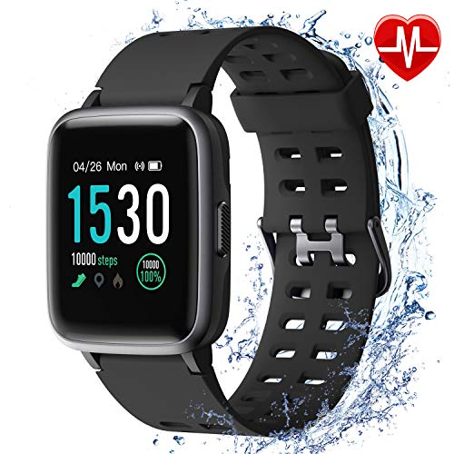 Armo Smartwatch, fitnessarmband-tracker, sporthorloge met stappenteller, hartslagmeter, waterdicht IP68, volledig touchscreen, smartwatch voor Android en iOS