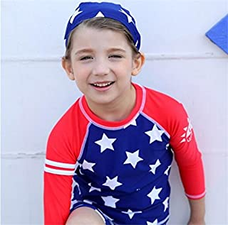 子供 水着 女の子 ラッシュガード キャップ付き 水着上下+帽子 3点セット 長袖 キッズ 男の子 星柄 ブルー 85cm-135cm