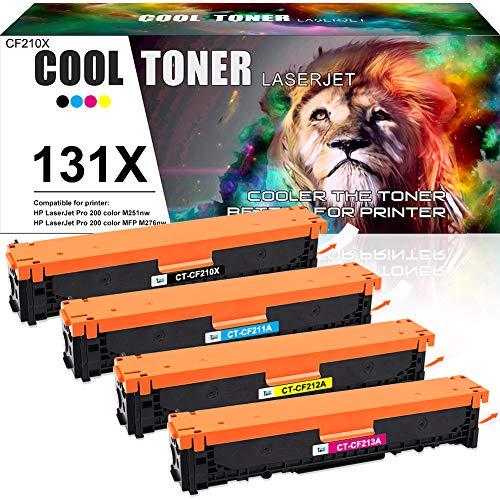 Cool Toner Cartuccia toner Compatibile In sostituzione di HP 131X 131A CF210X CF210A LaserJet Pro 200 color M251n M251nw MFP M276n M276nw M251 M276 (Nero,Ciano,Giallo,Magenta, confezione da 4)