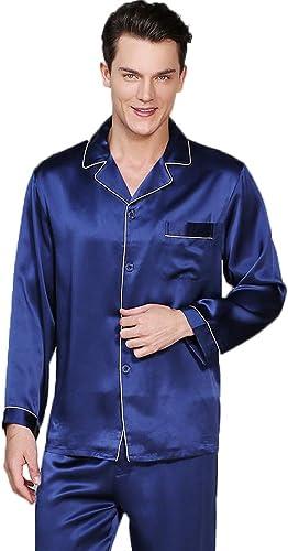 GOUDAN Pyjama en Soie pour Les Hommes réglés, Long Pyjama de vêteHommests de Nuit réglé Soie légère de Mulberry,bleu,L