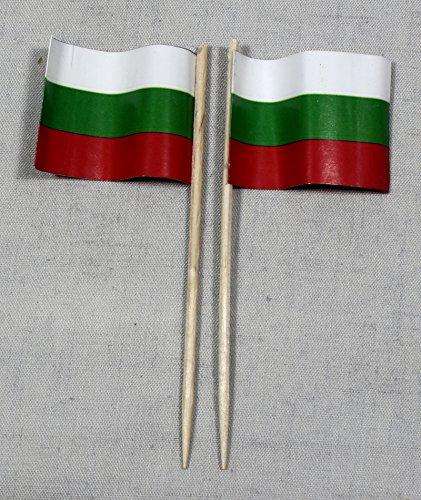 Buddel-Bini Party-Picker Flagge Bulgarien Papierfähnchen in Profiqualität 50 Stück 8 cm Offsetdruck Riesenauswahl aus eigener Herstellung