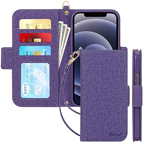 "Skycase Compatible for iPhone 12 Case/Compatible for iPhone 12 Pro Case,[RFID Blocking] Handmade Flip Folio Wallet Case with Card Slots and Detachable Hand Strap for iPhone 12/12 Pro 6.1"" 2020,Purple"