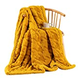 HT&PJ Plaid Sherpa Fleece Throw Blanket Houndstooth Fuzzy Soft Warm Thick for All Seasons Couch Bed Sofa(Gold, Throw(50'X60'))