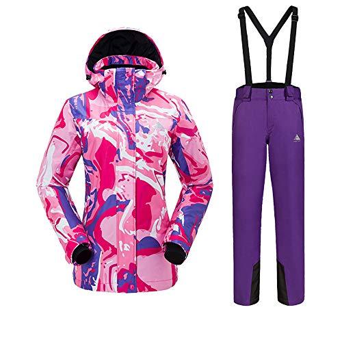 HXSKI Damesski-jassen en -broekenset, Herfst en Winter Dik Paar Koud Winter Waterdicht Double Board Ski Kleurrijke bedrukte broek Jas