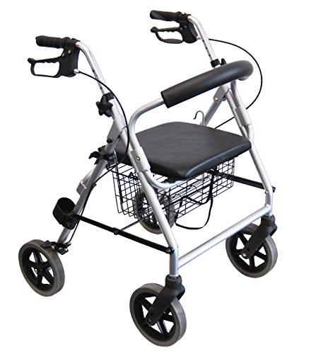 FabaCare Premium Leichtgewicht-Rollator Set LR53, Aluminium, höhenverstellbar, faltbar, mit Sitz, Rückenlehne, Korb, Gehwagen, Rollwagen, Alurollator, bis 120 kg, Sitzhöhe 53 cm