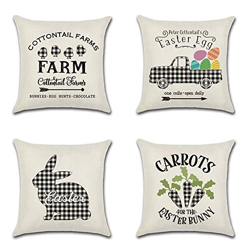 Review MOLECOLE Set of 4 Easter Throw Pillow Covers,Farmhouse Buffalo Plaid Bunny/Rabbit Carrot Truc...