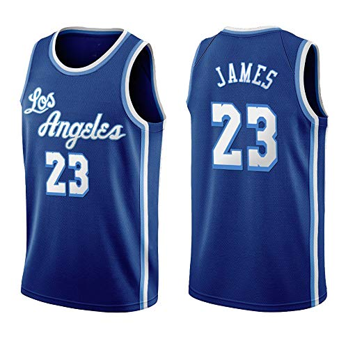 Nuevas Camisetas Baloncesto para Hombre Liga De Baloncesto 2021, Camisetas De Lebron James Lakers #23, Ropa Deportiva, Camisetas Unisex Sin Mangas, Uniforme Bordada,Azul,M