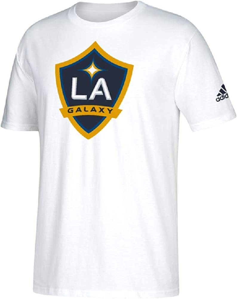 Perforar Menstruación guerra  Amazon.com : adidas LA Galaxy Men's Team Logo T-Shirt (White, Small) :  Clothing