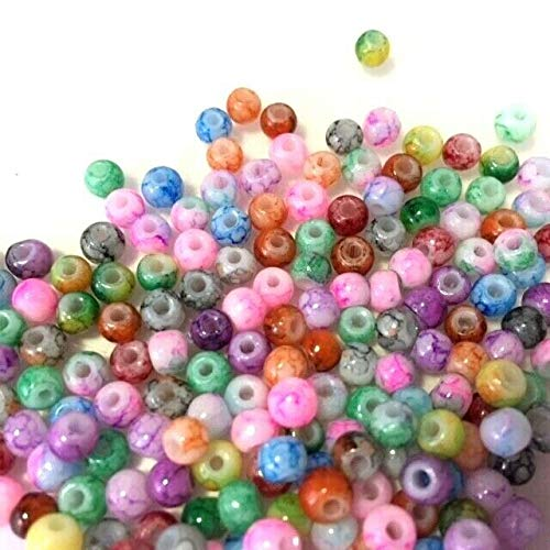 k2-accessories  200 Painted Glass Beads 4mm Marble Effect Multi Colour Mix Tiny Beads for Jewellery making and craft work