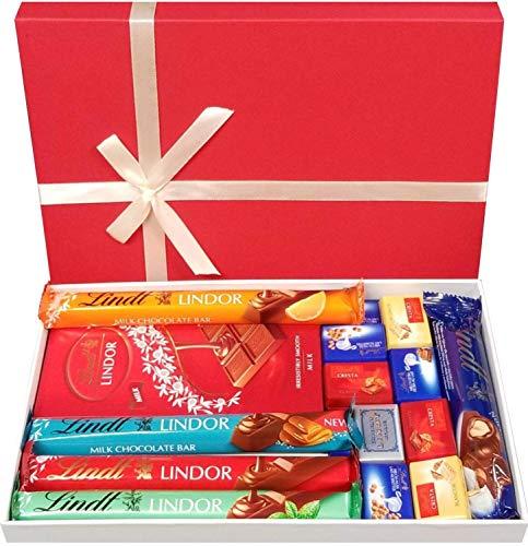 Premium Milk Chocolate Selection Geschenkbox - Erhältlich Milchschokolade Lindor Riegel, Napolitains, Nocciolatte Riegel
