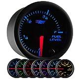 GlowShift Black 7 Color Adjustable Fuel Level Gauge - Black Dial - Clear Lens - for Gas & Diesel Vehicles - 2-1/16' 52mm