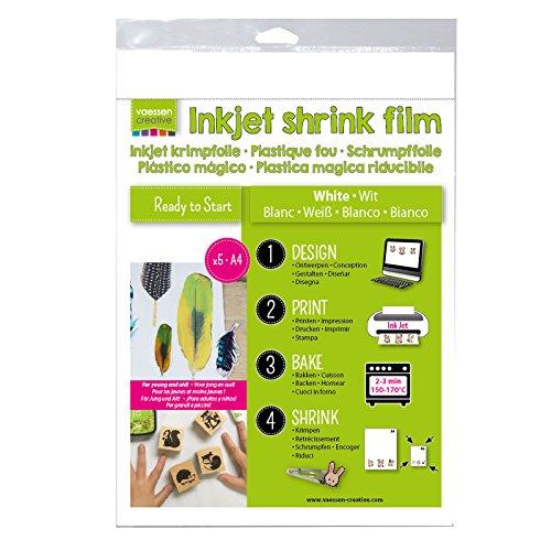 Vaessen Creative Schrumpffolie für Inkjet A4, Plastic, Weiß, 33.4 x 21.9 x 0.3 cm, 5-Einheiten