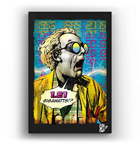 Emmeth Doc Brown de la pelicula Regreso al Futuro - Pintura Enmarcado Original, Imagen Pop-Art, Impresión Póster, Impresion en Lienzo, Cuadro, Cómics, Cartel de la Película