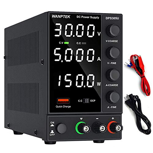DC Power Supply Variable, Adjustable Switching Regulated Power Supply (0-30 V 0-5 A) with 4-Digits LED Display, USB Quick-Charge Interface, Alligator Clips for Lab Equipment, DIY Tool, Repair