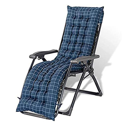 AFKK CojíN para Silla, Reemplazo de la Almohadilla para Tumbona de Interior/Exterior con 6 Lazos CojíN Reclinable para Silla Mecedora Tatami Mat ColchóN para Asiento,Azul