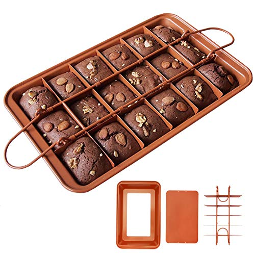 Hbsite Brownie Backform mit Trennwänden Antihaft Brownie Backblech Küchenmacher Backgeschirr Brownie Pan Square Kuchenform Kuchenblech