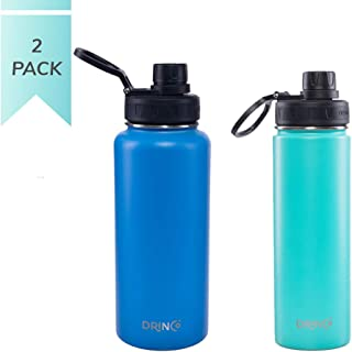 Drinco - Stainless Steel Water Bottle Double Wall Vacuum Insulated   20oz 32oz  Perfect for Traveling Camping Hiking (Combo - Blue & Aqua, Combo - 20oz & 32oz)