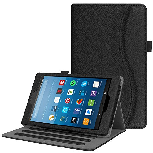 Fintie Case for Amazon Fire HD 8 Tablet (7th and 8th Generation Tablets, 2017 and 2018 Releases) - [Multi-Angle Viewing] Folio Stand Cover with Pocket Auto Wake/Sleep, Black